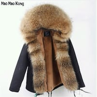 Winter Parka With Real Raccoon Fur Size L Black Toronto, M2R 3G7