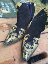 Snakeskin and suede Donald Pliner Italian boots