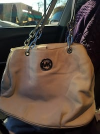 white Michael Kors pebble leather tote bag