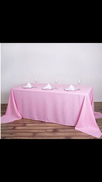 Pink tablecloths chair covers, Gold table runners chair bows Nashville