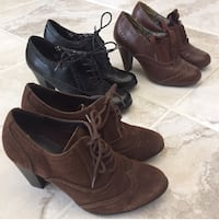 3 Pair of Pumps- 1 Black Leather / 1 Brown Leather / 1 Brown Suede