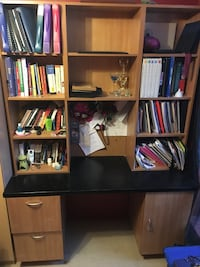 Black and Beige Wooden Desk with Bookshelf. Toronto, M3N 2K8