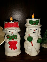 Mr and Mrs Snowman candles