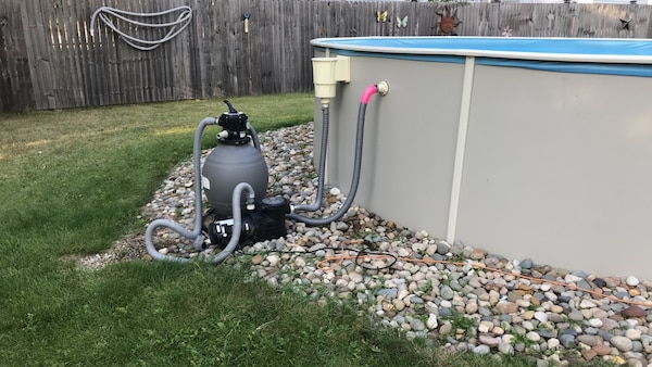 18x48 above ground pool and blue wave sand filter pump