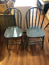 2 Blue Wooden Chairs $75 For The Pair