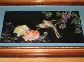 Vintage Chinese Shadow Box Framed Hanging Wall Art