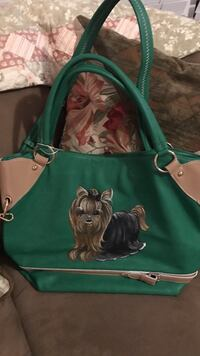 Green and brown leather dog printed tote bag Gainesville, 20155