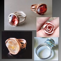 Handmade Silver and Copper wrapped rings