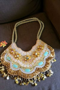 white and golden beaded Purse Montgomery Village, 20886