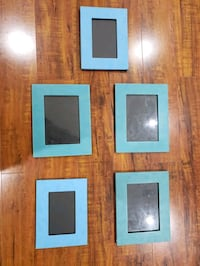 "Picture frames, blue & turquoise, set of 5.    9,5"" × 7,5""  8,5""×6,5"" Mississauga, L4Y 2E7"