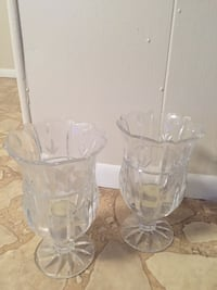 2 crystal candle holders - 7 in. tall