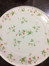 round white, green ,and red strawberry themed ceramic plate