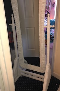 White full length wicker mirror on tilting stand Suffolk, 23435
