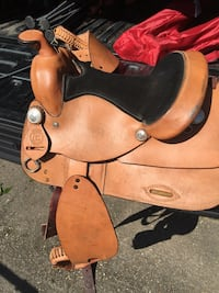 Kids saddle. Used maybe once but dirty from being in storage room. Has some scratches from dog on it