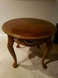 round brown wooden side table Oakville