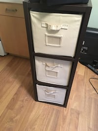 Black and white canvas 3-drawer chest Calgary, T3G