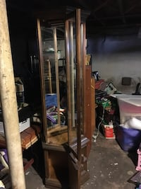 Brown wooden framed glass display cabinet Danbury