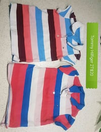blue, white, and red striped polo shirt Calgary