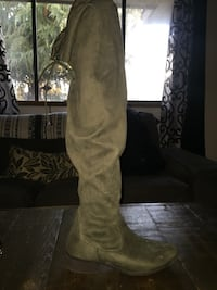unpaired gray suede round-toe heeled thigh-high boot