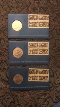 3 1972 Bicentennial commemorative medals first day of issue postmarks Hagerstown, 21740