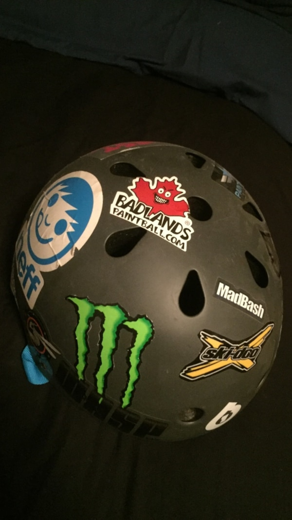 Helmet with stickers on it