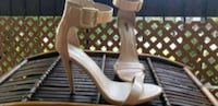 pair of white open-toe ankle strap heels Montréal, H8R 3T4