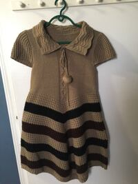 brown and black button-up cap-sleeve collared mini dress