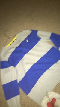 blue, white, and yellow striped textile Winnipeg, R2M 1A2