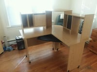 brown wooden desk with hutch Waldorf, 20602
