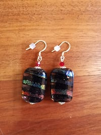 Handmade Sterling Silver Rainbow Dichroic Glass and Swarovski Crystal  Ellicott City