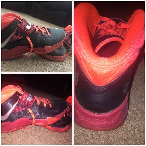 check out 734c0 fd333 black and orange lebron james high top sneakers
