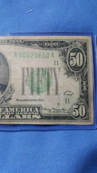 U.S. 1934 $50 Bank Note, Light-Green Seal Hollywood, 33019