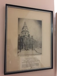 Maryland State House Etching SIGNED Laurel, 20708