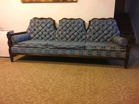 **VINTAG** Blue and Gold fabric 3-seat sofa
