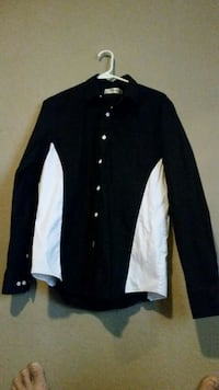 black and white button-up jacket