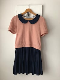 Two Piece Pink Navy Sailor Dress Size S