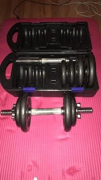black adjustable dumbbell with weight plate set and case