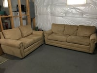 tan faux suede 2-seat couch and loveseat Stafford, 22554