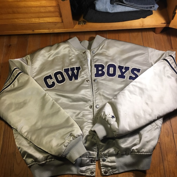 new style 9c7bb a235a gray and blue Dallas Cowboys letterman jacket