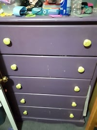 wooden 5-drawer tallboy dresser and end table
