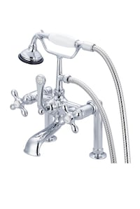 Water Creation Vintage Classic Chrome Finish Brass 7-inch Spread Deck Mount Tub Faucet with 6-nch Risers and Handheld Shower