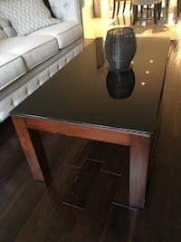 Tempered glass top Brown wooden coffee table Brampton