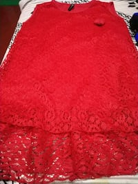 red floral lace sleeveless dress