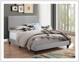 Gray Upholstered Bed with Mattress Set