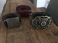 several assorted-colored belts