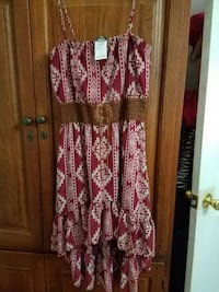 red and white tribal print spaghetti strap high low dress