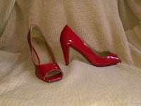 BRAND NEW size 8 red women's peep toe shoes Gaylord, 49735