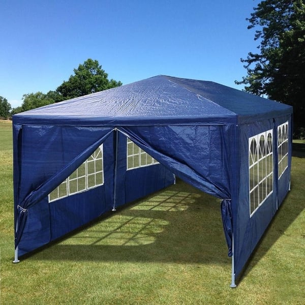 BRAND NEW 10 x 20 Outdoor Canopy Party Wedding Tent 6 Sides Blue Gazebo Sunshade Never Used