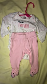 baby's pink and white footie pajama Mobile, 36619