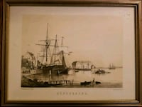 5  antique schooner/ship print gold wood frame Toronto, M6R 2C7